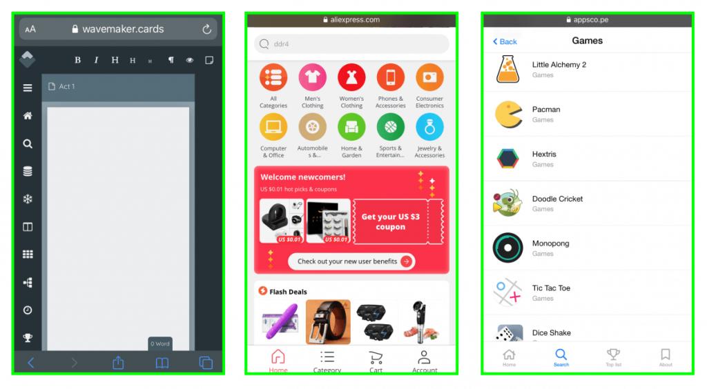 PWA progressive web apps optimized on mobile