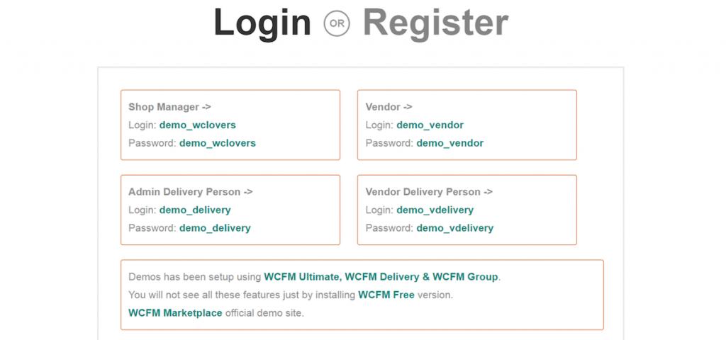 WCFM demo account