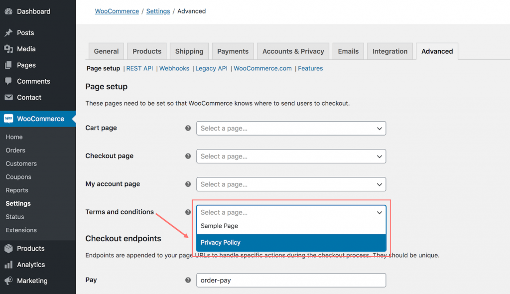 GDPR terms and conditions in WooCommerce settings