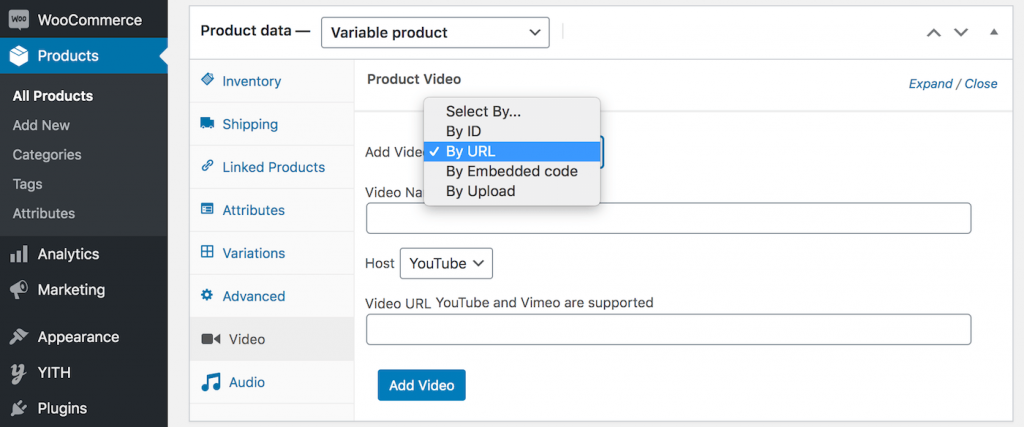 Add video to YITH WooCommerce product