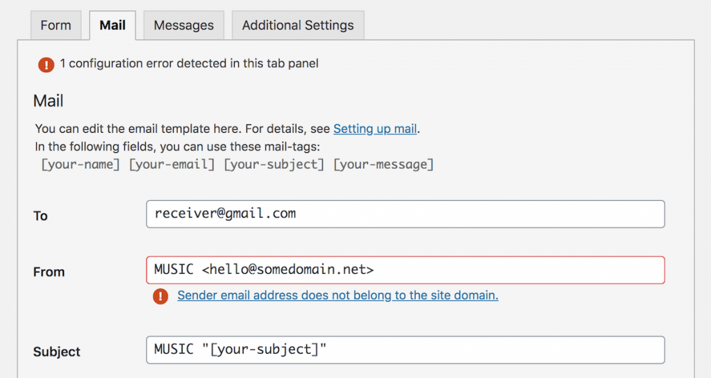 CF7 Mail tab settings