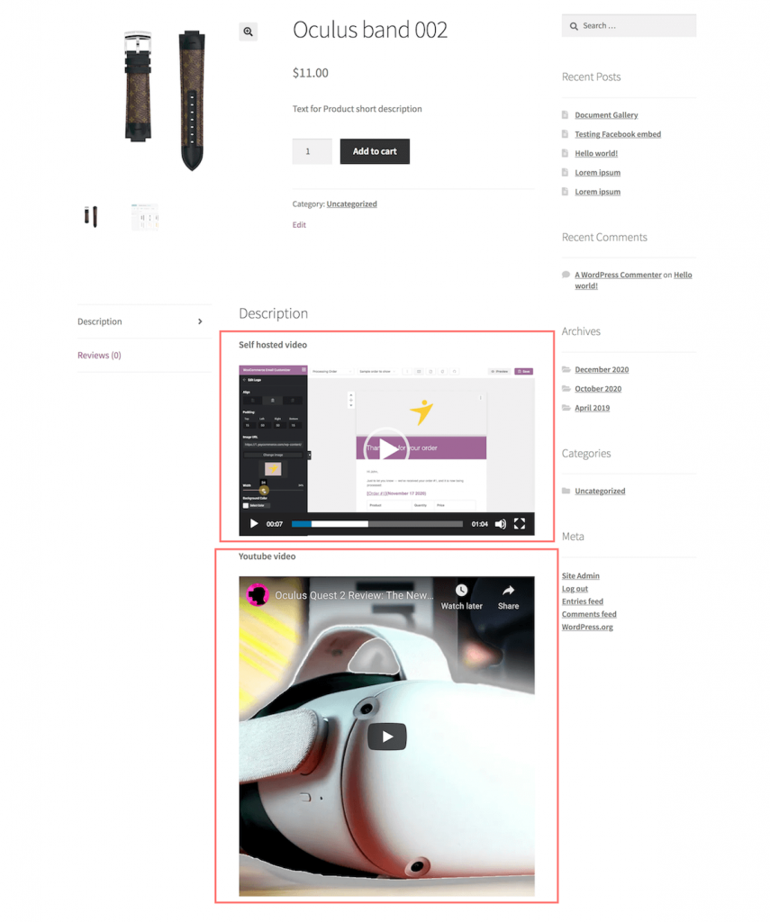 Videos in WooCommerce product description