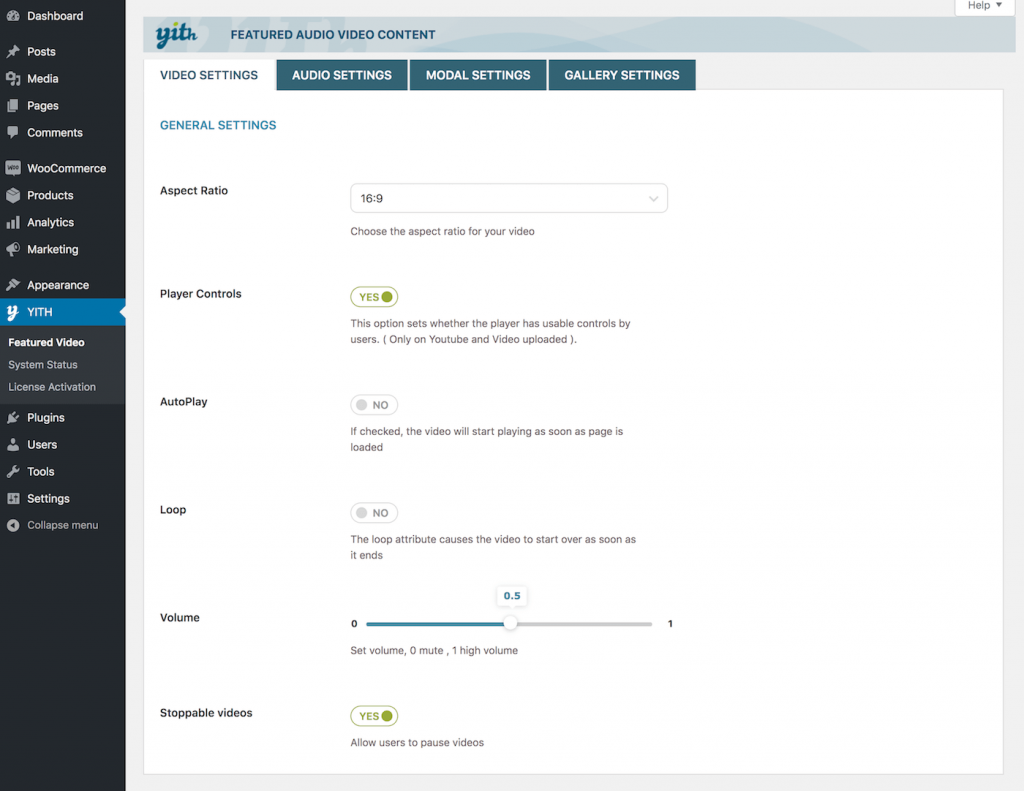 YITH WooCommerce Featured Audio and Video - Plugin Settings