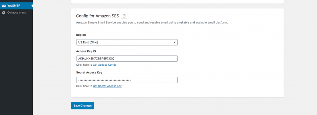 Config for Amazon SES in WP Mail SMTP