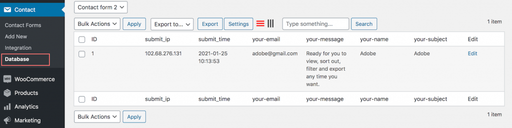 Database for contact form 7 backend