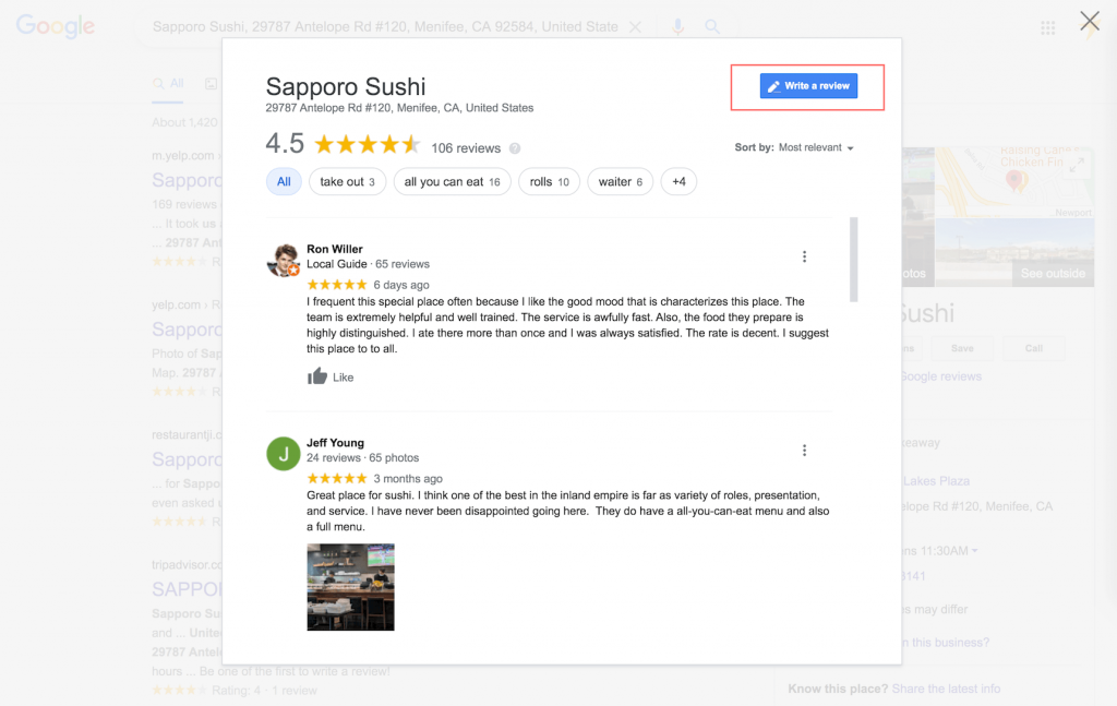 Google link to show business reviews