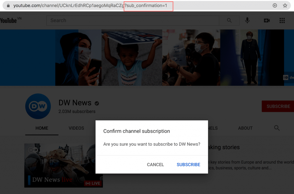 A YouTube popup with the subscription confirmation message