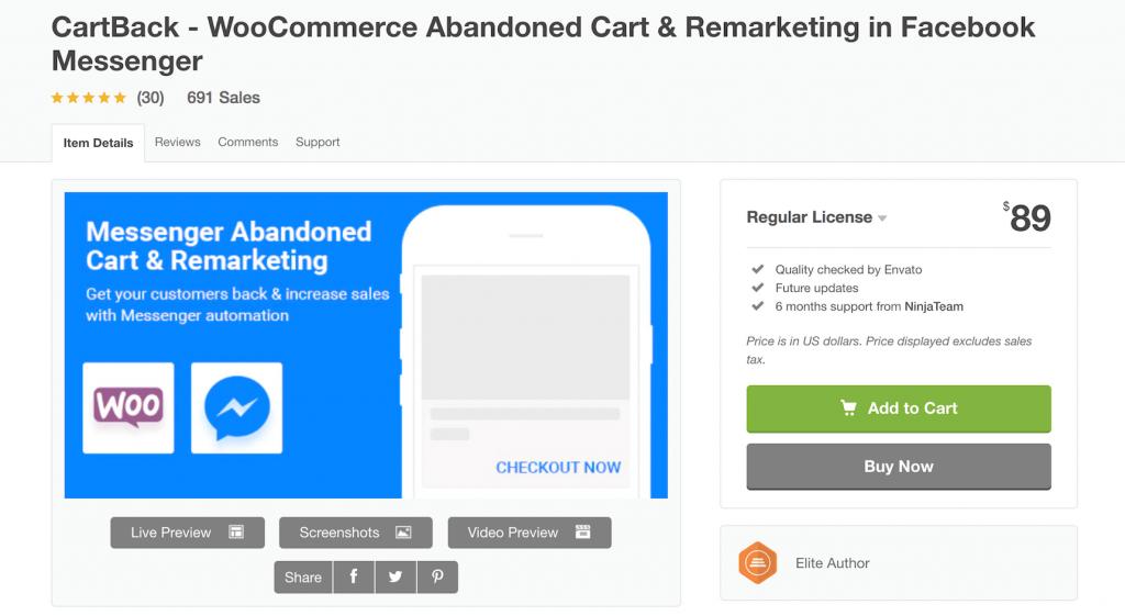 CartBack plugin for WooCommerce