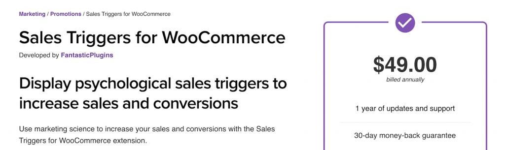 Plugin: sales trigger for woocommerce