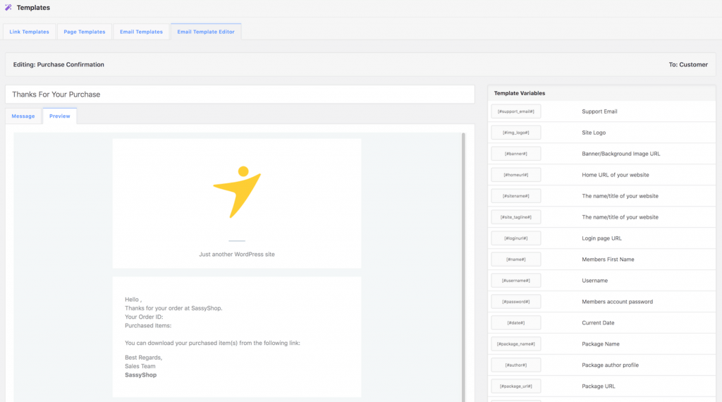 Email template editor in WP Download Manager
