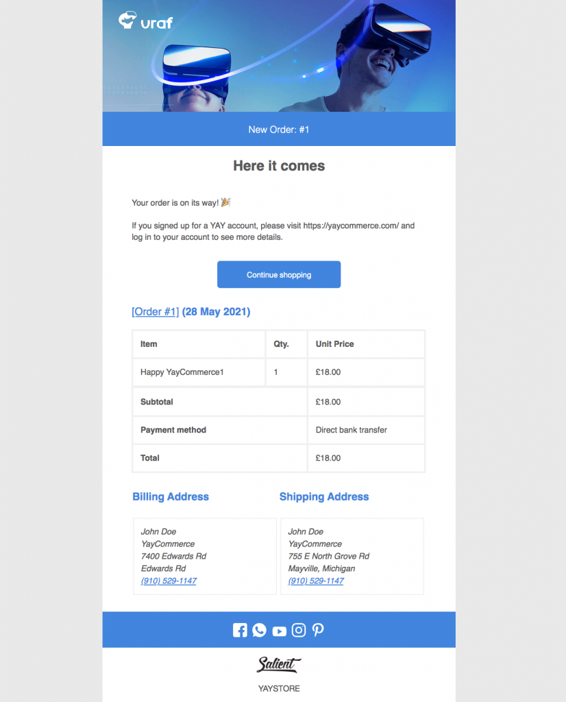 A WooCommerce email template sample