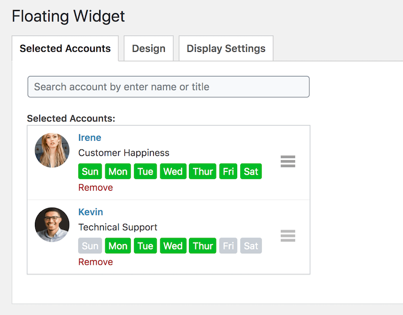 select accounts in floating widget