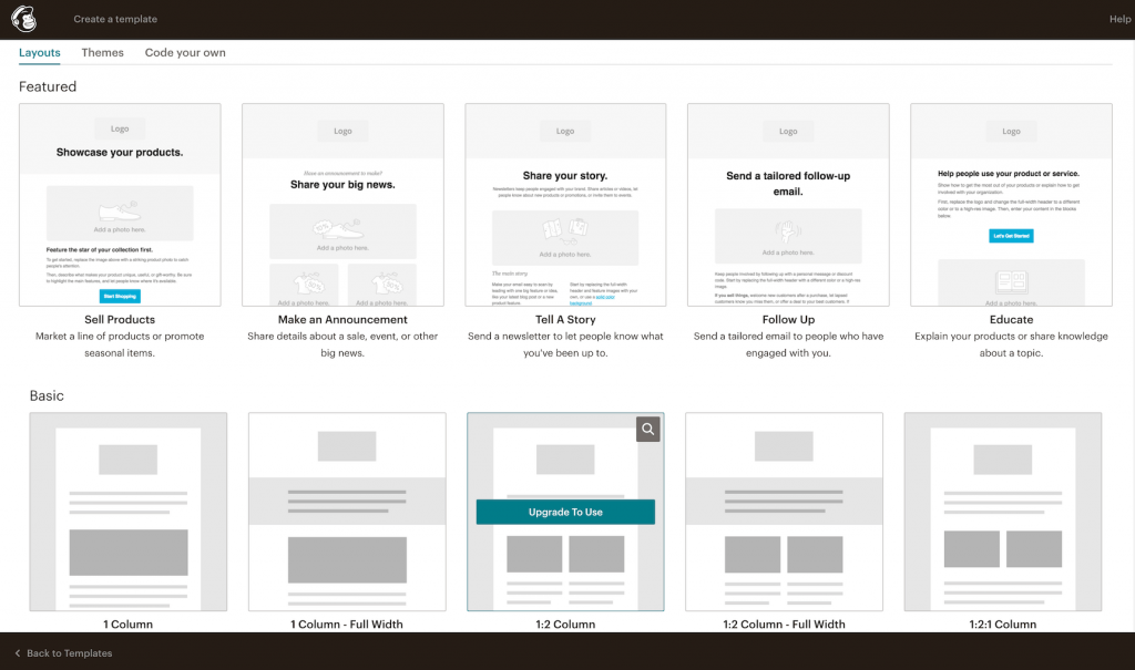 Mailchimp campaign email template library and layouts