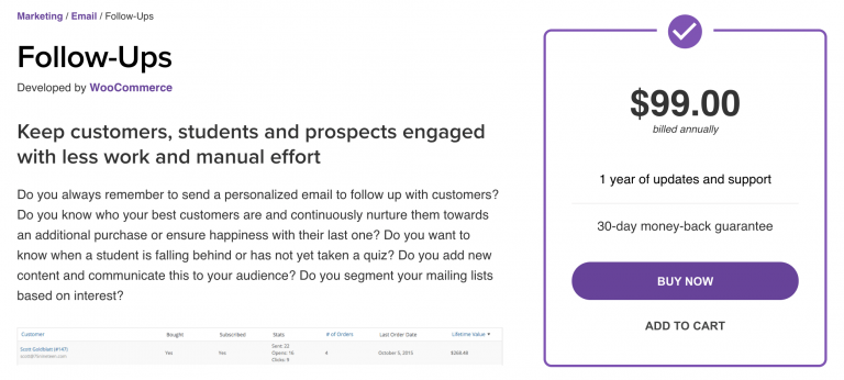 WooCommerce Follow-Ups email notification