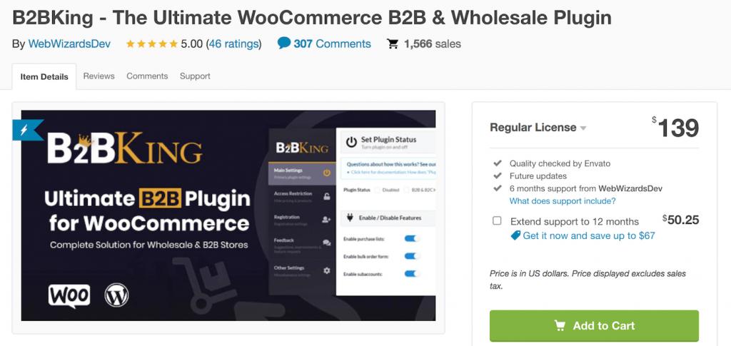 B2BKing woocommerce plugin on Codecanyon