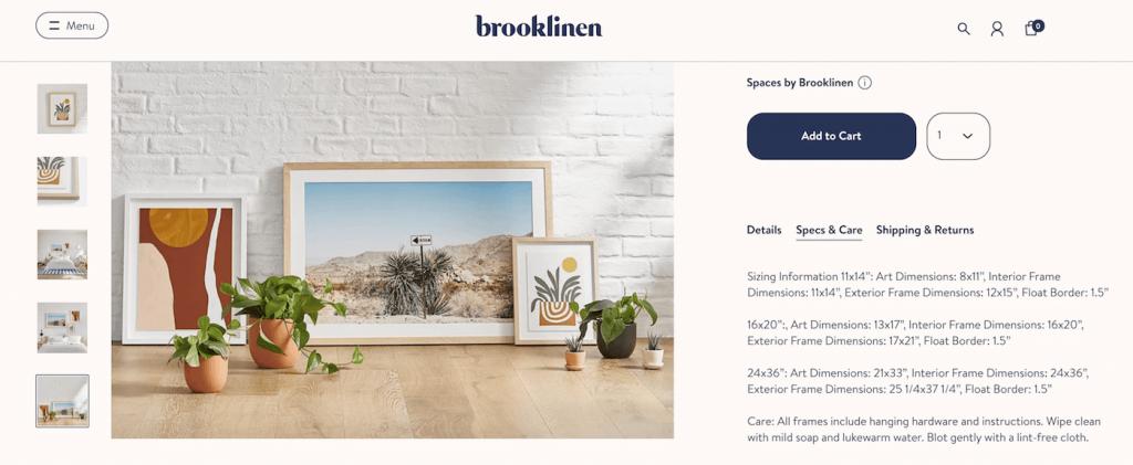 Brooklinen product description page