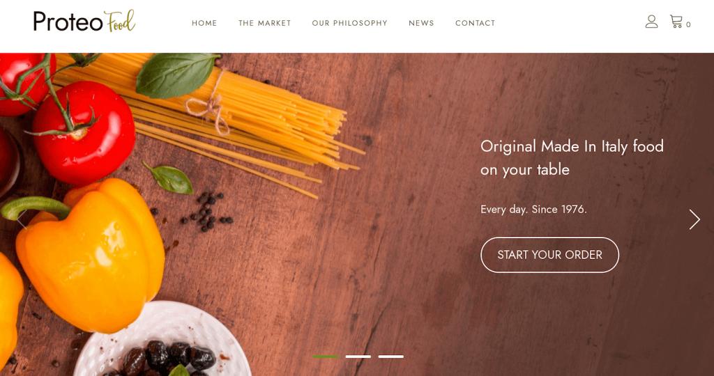 Proteo theme home page