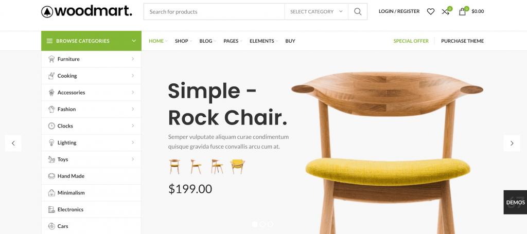 WoodMart WordPress theme for Woocommerce store