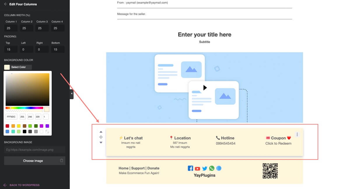 Email footer with drag and drop email builder