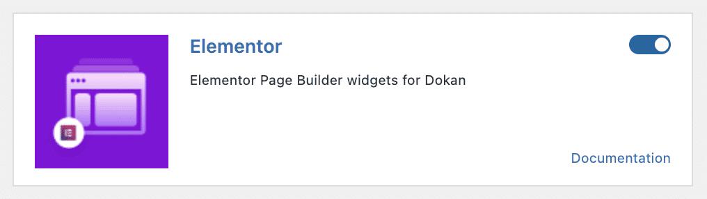 Elementor page builder in Dokan settings dashboard