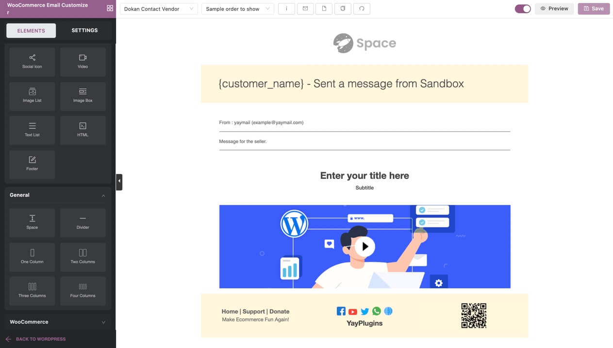 WooCommerce email customizer for Dokan