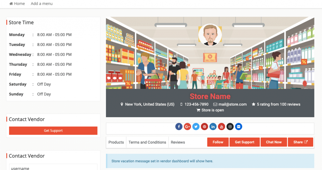 examples of a customized vendor store frontend