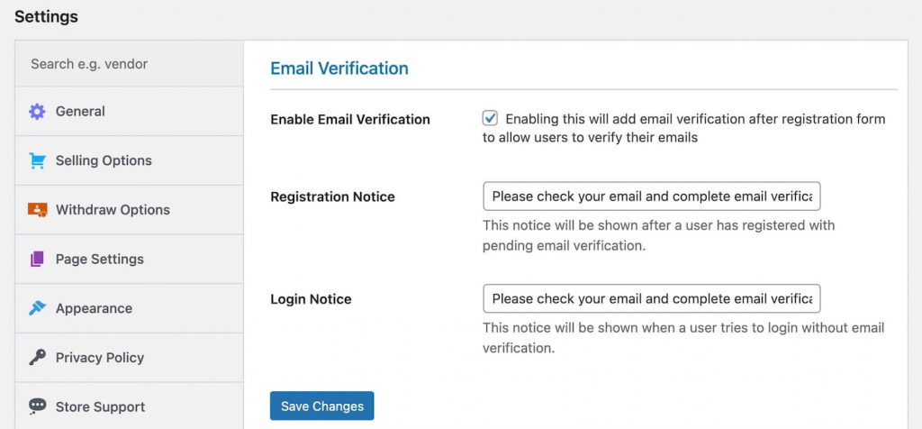 email verification by Dokan
