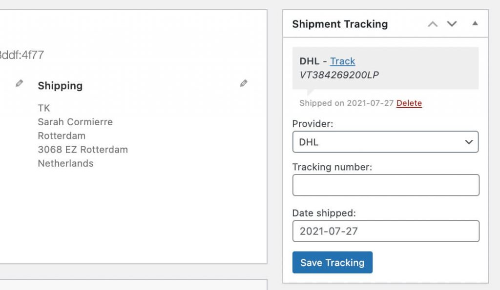 shipment tracking info
