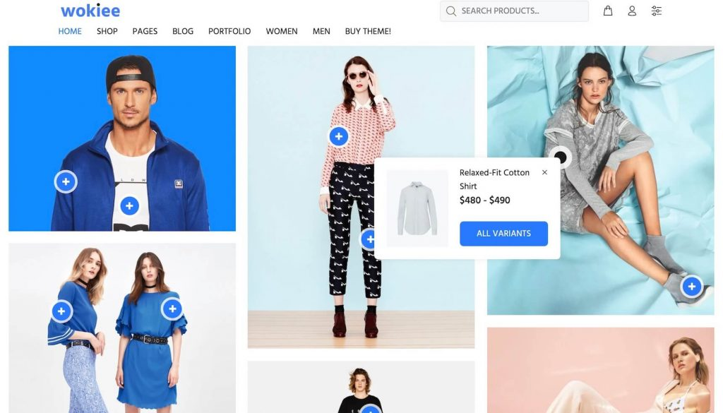 wokiee Shopify theme with variants on hover image hotspot