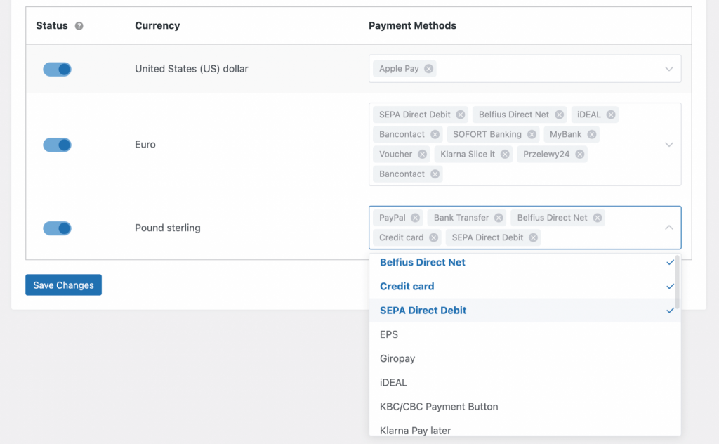 checkout based on coutry with available payment methods