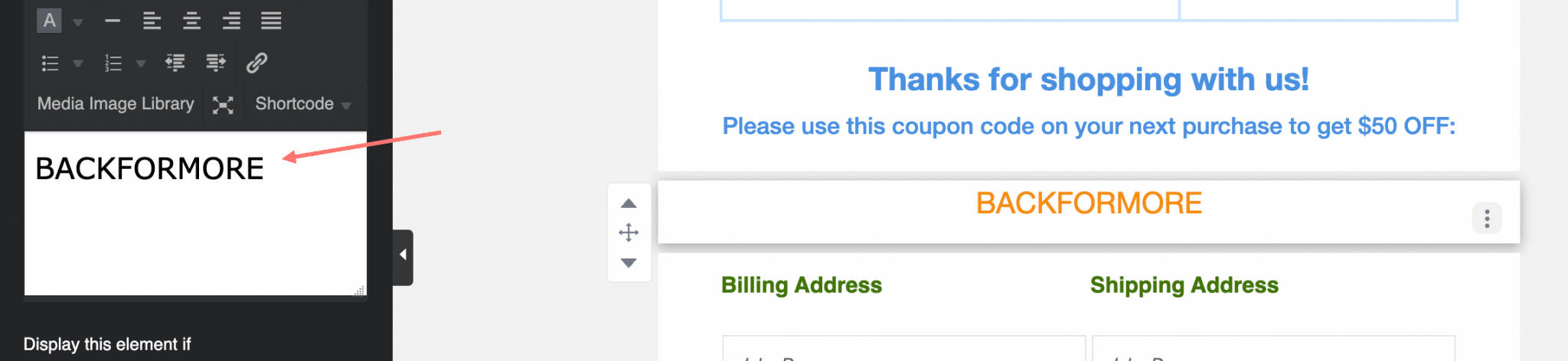 Add coupon code to email template