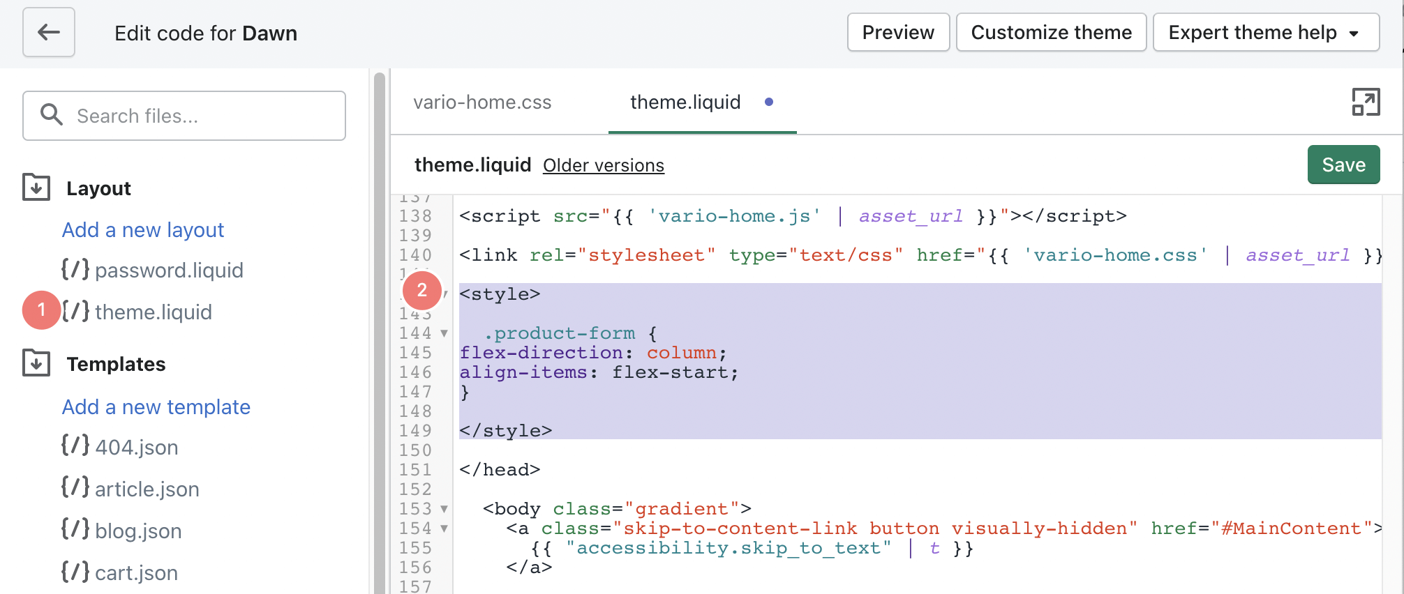 Adding CSS snippets between the style and head tags
