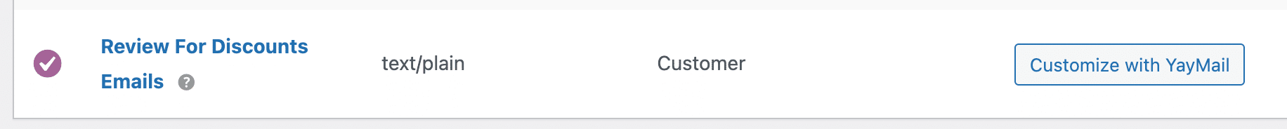 Review for discounts emails in WooCommerce settings